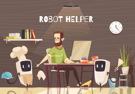 家事を行う国内サービス ロボット アシスタントはベクトル イラストです。