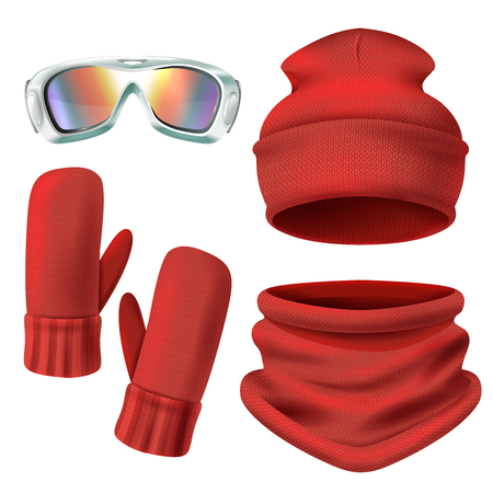 Red ski suit icon set with hat mittens and knit face protection vector illustration.