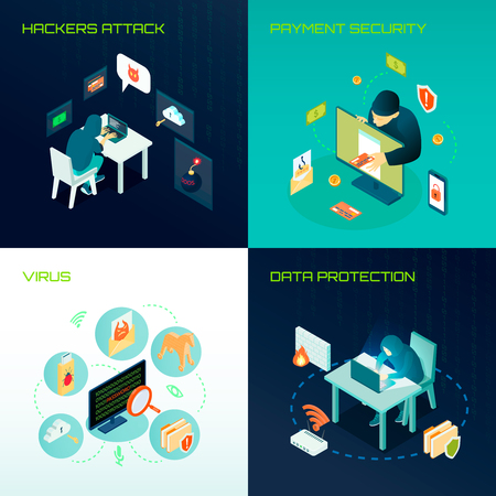 Hacker activity isometric design concept with virus attacks, data protection and payment security vector illustration.