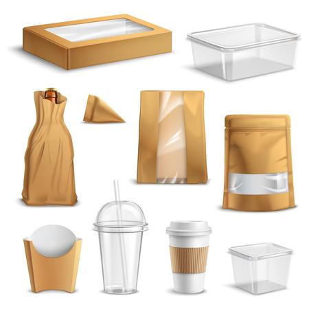 Fastfood lege pakketten realistische set met doorzichtige plastic soda cup papieren zakken en containers geïsoleerde vectorillustratie