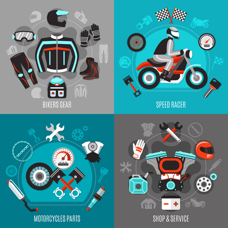 Motorcycle 2x2 design concept with bikers gear racer, motorcycles parts shop and service square compositions.