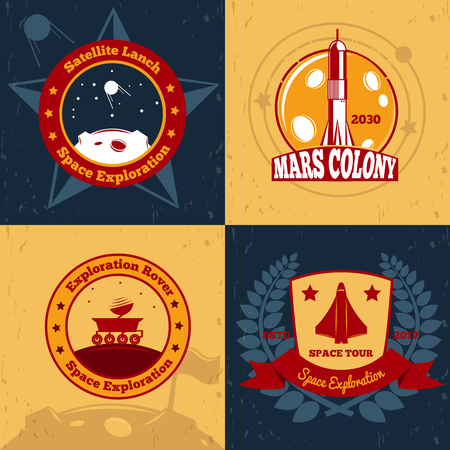 Space exploration emblems color 2x2 design concept with flat symbols and images of space systems. Ilustrace