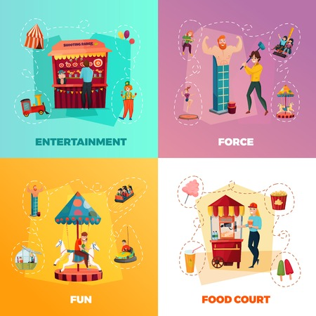 游乐园2x2设计概念的人与娱乐和食物法院象传染媒介例证。