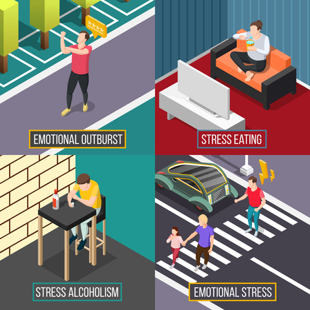 Stress people isometric concept with eating during depression, emotional outburst, alcohol abuse vector illustration. Illustration