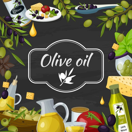 Olive cartoon blackboard composition poster with  chalkboard text vector illustration.