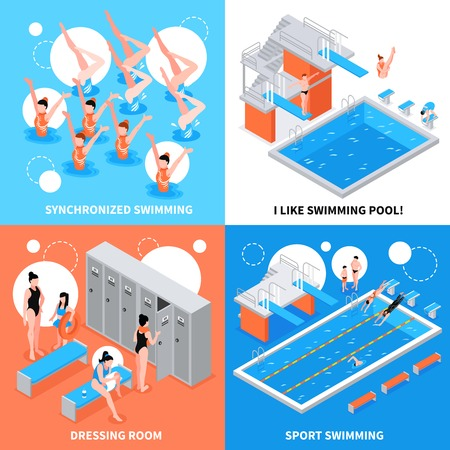 Isometric swimming pool design concept set vector illustration.
