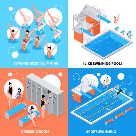 Isometric swimming pool design concept set vector illustration.