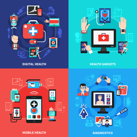 Digital health wearable gadgets for blood pressure vector illustration. Illustration