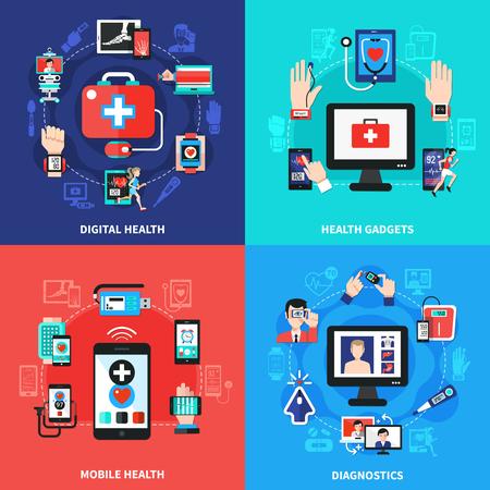 Digital health wearable gadgets for blood pressure vector illustration. Illustration