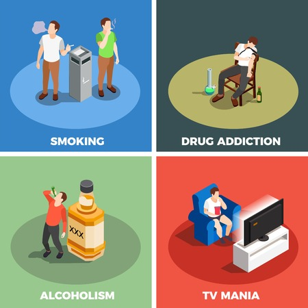 Addictions isometric design concept vector illustration. Illusztráció