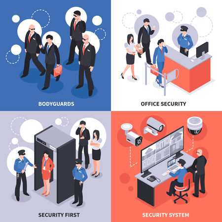 Security system isometric design concept vector illustration.