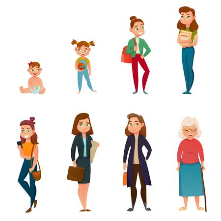 De levenscyclus van de vrouw van kindertijd aan oude dag vectorillustratie.