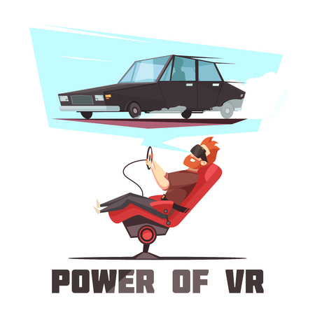 Virtual reality automated car driving experience simulator vector illustration.