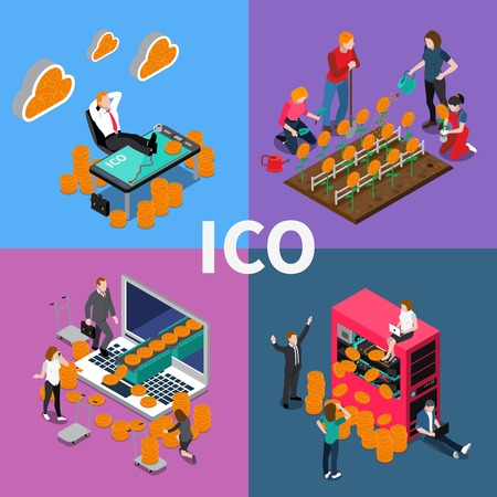 Block chain ICO isometric concept vector illustration. Illustration