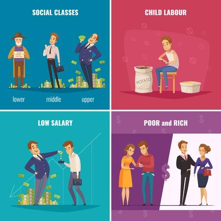 社会階級低い給料児童労働のベクトル図と貧しいと豊かな 2 x 2 デザインのコンセプト。