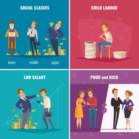 Poor and rich 2x2 design concept with social classes low salary child labor vector illustration. Ilustracja