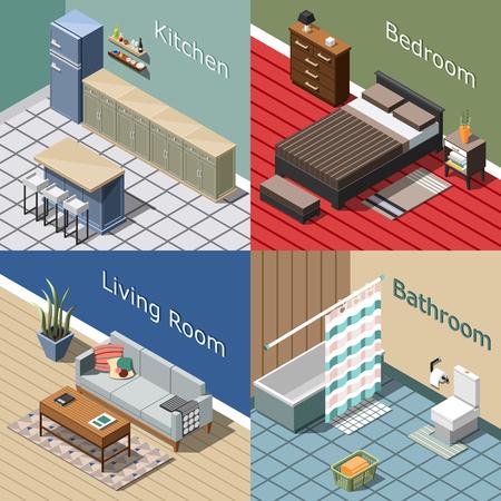 Woon binnenlands isometrisch concept voor huis of hotel vectorillustratie.