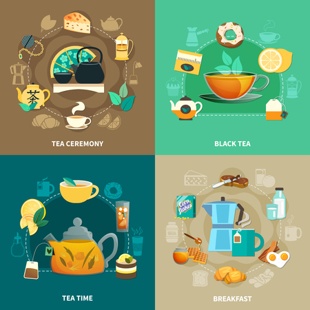 Design concept with black tea, drinking ceremony, breakfast, cups and teapots isolated on color background vector illustration.