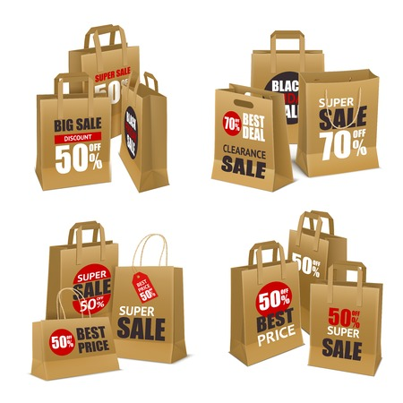 Set of four paper shopping bag intended for sale goods vector illustration.