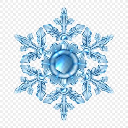 光青と現実的なスノーフレーク クリスタル スタイルで透明な組成物。  イラスト・ベクター素材
