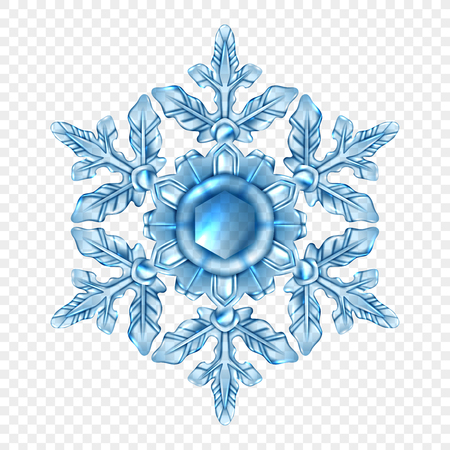 Transparente Zusammensetzung der hellblauen und realistischen Schneeflocke in der Kristallart. Standard-Bild - 88844673