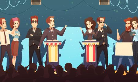 Presidentiële verkiezingskandidaten betrokken bij politieke debatten voor potentiële kiezers. Vector Illustratie