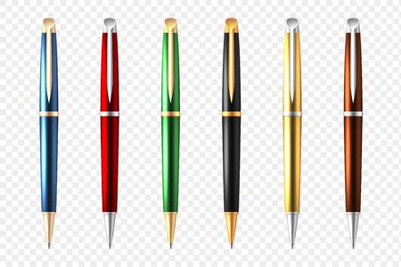 Gekleurde en realistische zakelijke pen transparant pictogram vectorillustratie. Stock Illustratie