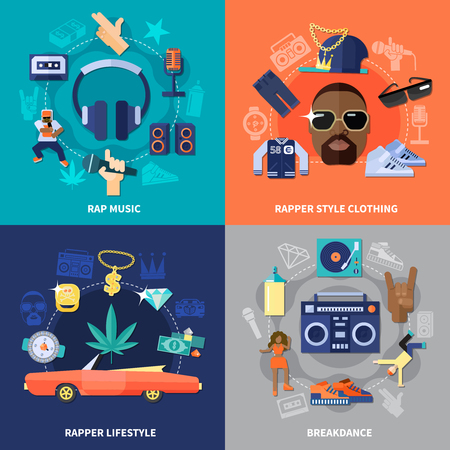 Rap music flat concept with clothing of rapper and lifestyle vector illustration.