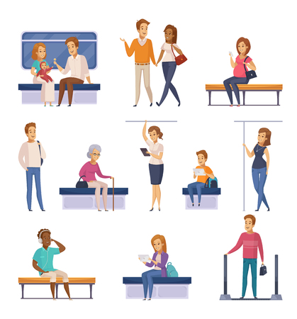 Underground subway commuters characters cartoon icons set with passengers vector illustration. Imagens - 88844682