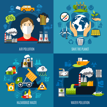 Environmental problems concept icons set vector illustration.