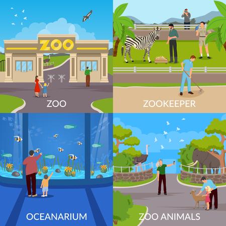 Het conceptenreeks van het dierentuinontwerp van ingang in dierentuin vectorillustratie. Stock Illustratie