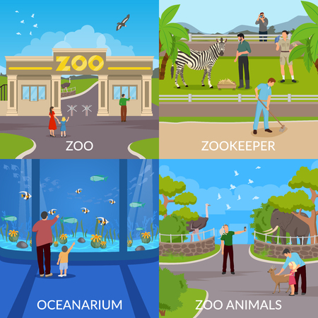 Zoo design concept set of entry in zoo vector illustration. Stok Fotoğraf - 88844687