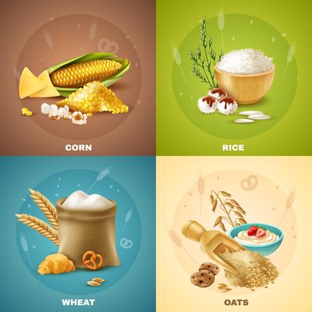 4 孤立した穀物デザイン コンセプトまたはアイコン セットのベクトル図です。