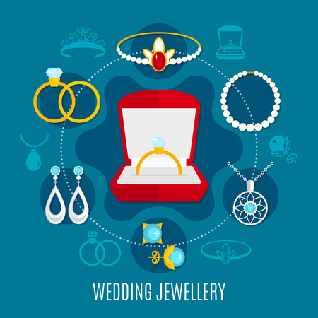 Wedding jewelry round composition with engagement rings, earrings, diadem with ruby, necklaces on blue background vector illustration