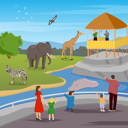 Zoo flat colored composition with adults and kids looking for wild animals living in zoo vector illustration