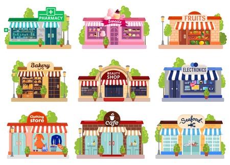 Fachadas coloridas brillantes de seis tiendas y cafés aislados en ilustración de vector plano de fondo blanco
