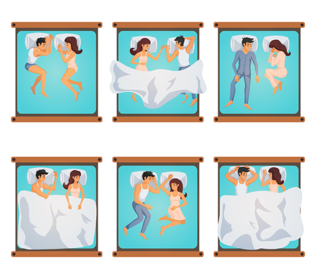 Six pairs of men and women on double bed in different sleeping poses isolated vector illustration