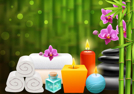 Spa bright background with bamboo shoots colorful aroma candles white towels black stones and purple orchid flowers realistic vector illustration
