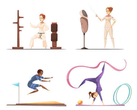 Sportswoman retro catroon set of flat female gymnast characters doing various sports and sporting equipment images vector illustration