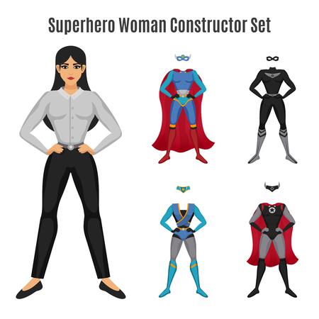 De superheroconstructeur met vrouw in zeker wordt geplaatst stelt met ernstig gezicht en kleurrijke kostuums geïsoleerde vectorillustratie die