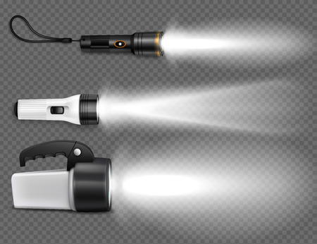 Different kinds of flashlights with beams of light on the transparent background. Side view set of realistic devices vector illustration Illustration
