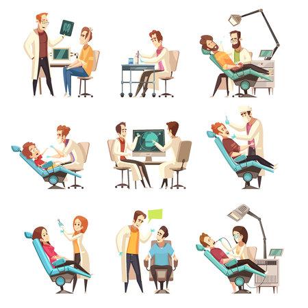 Reeks van negen geïsoleerde scènes van de beeldverhaaltandheelkunde met patiënt in medische leunstoel en werkende tandarts vlakke vectorillustratie Stock Illustratie