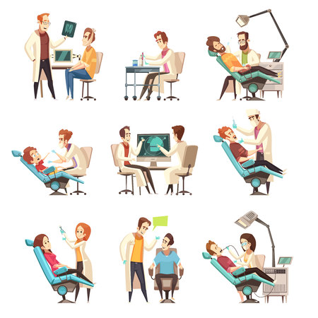 Set of nine isolated cartoon dentistry scenes  with patient in medical armchair and working dentist flat vector illustration
