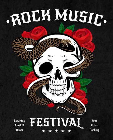 검은 배경 벡터 일러스트 레이 션에 잎 두개골, 빨간 장미와 뱀 바위 음악 축제 포스터