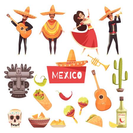 Dekorative Ikonen Mexikos stellten mexikanische Musiker Kaktus maracas Tequila mit Gitarren in der flachen Vektorillustration des Ponchos und des Sombrero ein Standard-Bild - 89112104