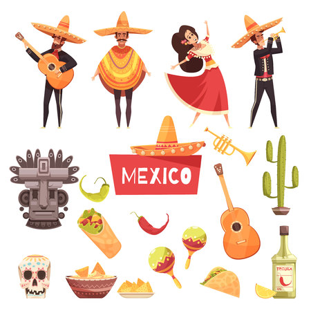 Mexico decorative icons set of cactus maracas tequila mexican musicians with guitars in poncho and sombrero flat vector illustration