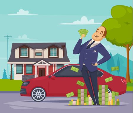 彼の車と家の背景平面ベクトル図でお金のヒープの近くに立ってうれしい豊富なビジネスマンとの富と繁栄の漫画構成