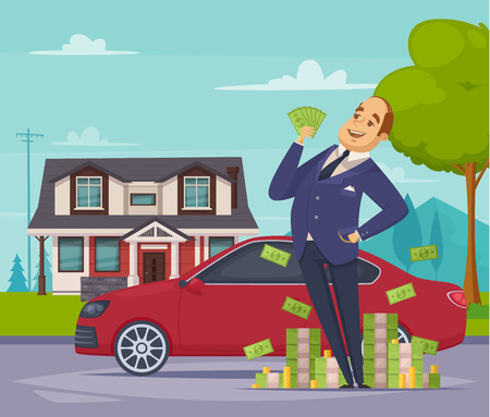 Wealth and prosperity cartoon composition with glad rich businessman standing near heap of money at his car and house background flat vector illustration