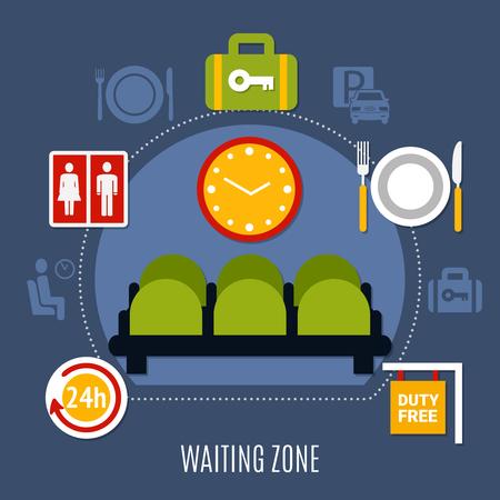 荷物保管サービス トイレと免税シンボル フラット ポスター ベクトル図国際空港待機ゾーン  イラスト・ベクター素材