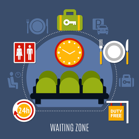 International airport waiting zone with luggage storage service restroom and duty free symbols flat poster vector illustration